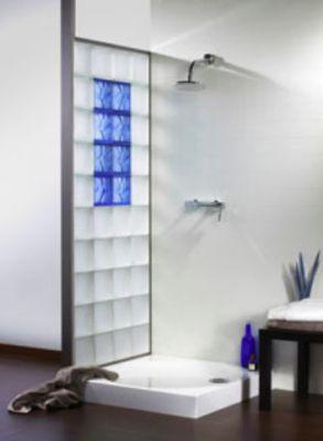 Pose paroie de douche en pav s de verre am nagement salle de bains grenoble - Pose carreaux de verre ...